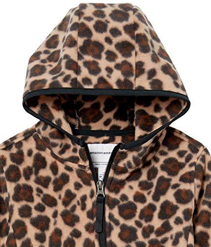 Amazon Essentials Girls' Polar Fleece Full-Zip Hooded Jacket, Classic Leopard, S