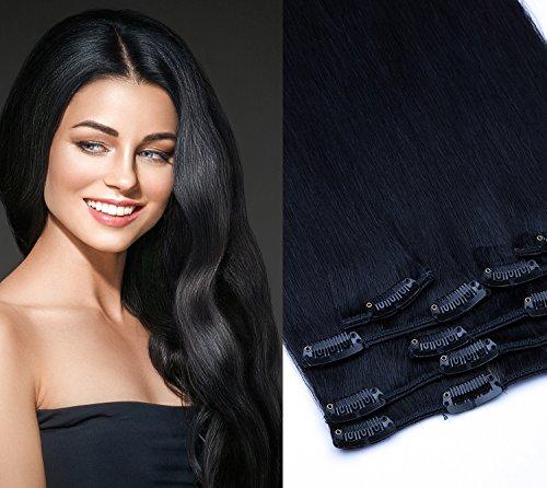 Clip In Extension Set 7 Teile glatt 55cm Haarverlängerung Haarteil 100% Remy Echthaar Clip in Hair Extension von GlamXtensions in Farbe: 01 Schwarz