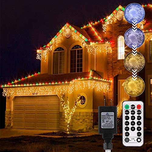 ECOWHO Icicle Lights Outdoor with Gutter Ties for Decoration End-to-end 440 LED String Lights Linkable Warm Cool White Fairy Lighting with Remote Memory 3 Timer & Dim (11 Modes, UL Adapter)(12.1m)
