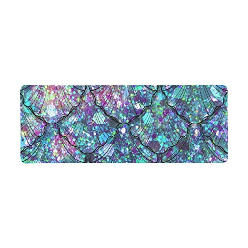 InterestPrint Soft Extra Extended Large Gaming Mouse Pad with Stitched Edges, Desk Pad Keyboard Mat, Non-Slip Base for Office & Home, 31.5 x 12In - Mermaid Tails and Scales in Glitter Jewel Style