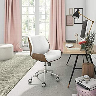Elle Decor Ophelia Low-Back Task Modern Bentwood Home Office Armless Desk Chairs in Chrome Finish, French Ivory (B06XYTZYFM) | Amazon price tracker / tracking, Amazon price history charts, Amazon price watches, Amazon price drop alerts
