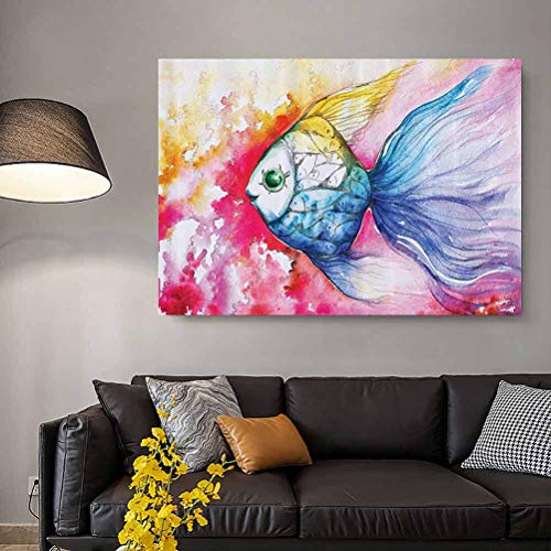 Ocean Animal Decor Modern Wall Art Watercolor Fish Paint with Grunge Vivid Brushstroke Splashes Nautical Concept raw Materials Multi L16 x H24 Inch