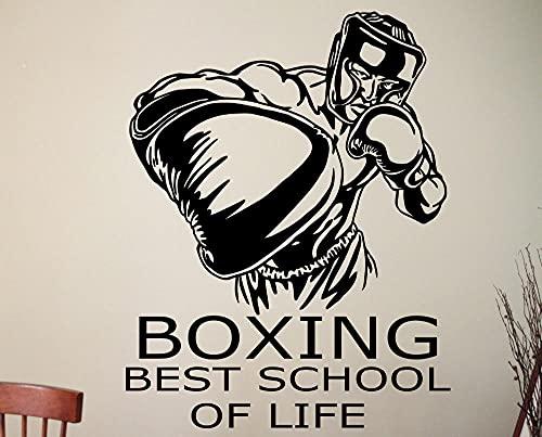 Calcomanía de pared de boxeo, diseño de gimnasio de pared deportiva, arte de boxeo, habitación de niño, vinilo extraíble-48x40cm