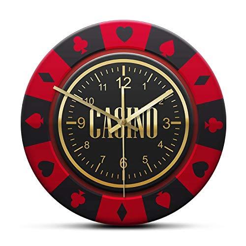 xinxin Reloj de Pared Gamble Chip Reloj de Pared Impreso Ruleta Torneo Diseño de Chip Reloj silencioso Que no Hace tictac para Pub Club Casino Decoración de Pared
