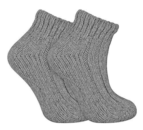 sock snob Damen Winter Bunt Gestrickt Kurz Norweger Style Wollsocken (37/42, 05 Grey)
