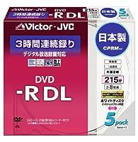 Victor 映像用DVD-R 片面2層 CPRM対応 8倍速 ワイドホワイトプリンタブル 5枚 VD-R215CW5