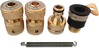 NUZAMAS Set of 4 Solid Brass Garden Hose Adaptors Lawn Water Hose Pipe Fitting Set Connectors Tap Adaptors