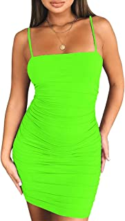 Kaximil Women`s Sexy Bodycon Spaghetti Strap Ruched Mini Club Dresses