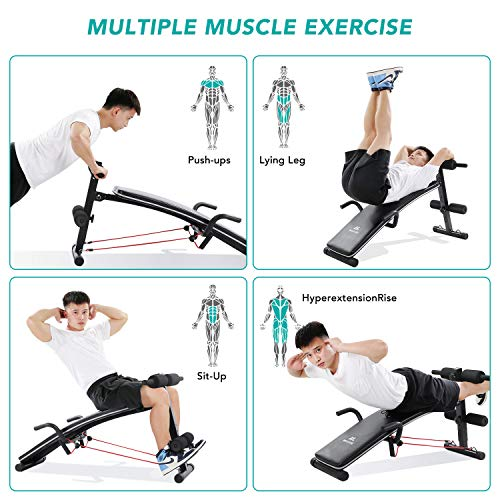 Sit Up Bench Workout Ab Exercise For Home Gym, MaxKare Multifunctional Bench Press Recline Adjustable