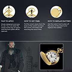 Smooth Vintage Steel Quartz Pocket Watch Classic Fob Pocket Watch with Short Chain for Men Women - Gift for Birthday Anniversary Day Christmas Fathers Day (Gold) #2