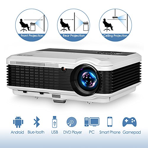 3900 Lumen Android Bluetooth LCD Video Projector-Multimedia HDMI USB RCA Audio VGA AV Support Full HD 1080P Wireless WiFi Home Theater Projectors Outdoor Indoor Holiday Entertainment Game Movies Art