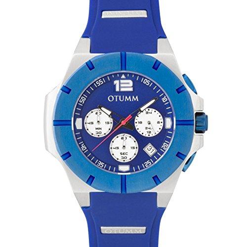 Otumm Unisex Uhr Chronograph mit Blau Silikon Armband XSPST004