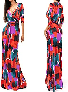 Multy Color V Neck Long Dress Small L51208-3