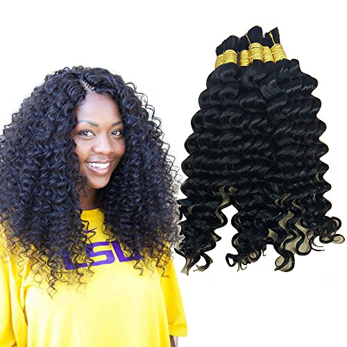Hannah product Bulk Hair For Braiding Human Hair Deep Curly Wave No Weft Wholesale Human Hair Bulk In Factory Price 4 Bundles 200g Brazilian (16 18 20 22 Natural Black #1B)