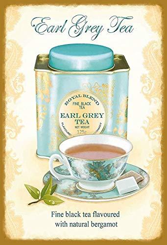 Blechschild 20x30cm Earl Grey Tea Tee Royal Blend Metall Schild Tin Sign