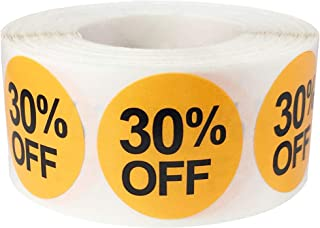 30% Percent Off Stickers for Retail 1 Inch 500 Adhesive Labels