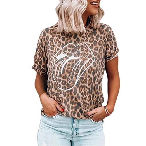 NOBRAND T-shirt à manches courtes pour femme avec motif léopard, lèvres et langue - - X-Large