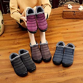 Women Winter Shoes Solid Color Snow Boots Plush Inside Antiskid Bottom Keep Warm Waterproof Ski Boots(Multi-Color,one Size)