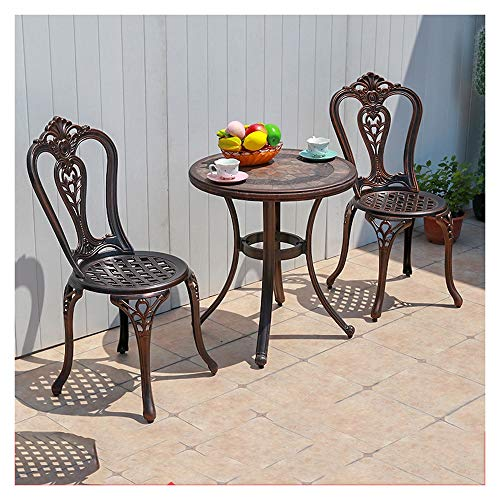 DYYD Garden Table and Chair Set Iron Tables and Chairs, Patio Furniture, Tavern Tables, Outdoor Patio Furniture, Rust and Weather Resistance 3 Piece Table and Chairs Garden Furniture Sets
