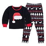 GZQ 1 Set Pijamas de Navidad para Hombre, Pijamas de Dormir Familia,Camisetas de Manga Pantalón Larga,Ropa del Inverto,Pijamas de Rayas con Gorro del Navidad Rojo para Padre