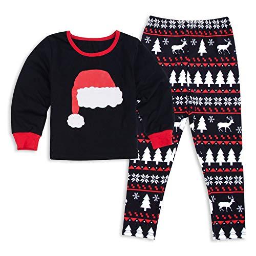 GZQ 1 Set Pijamas de Navidad para Niño, Pijamas de Dormir del Familia,Camisetas de Manga Pantalón Larga,Ropa del Inverto,Pijamas de Rayas Rojo Diseno con Gorro del Navidad para Ninos