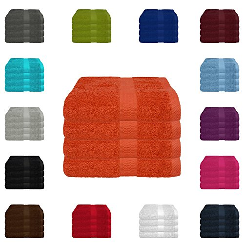 4 tlg. Handtuch-Set in vielen Farben - 4 Handtücher 50x100 cm - Farbe terra