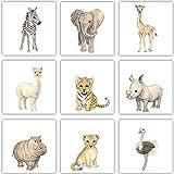Frechdax® 9er Set Kinderzimmer Poster Baby Bilder 13x13cm