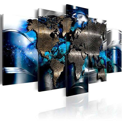 murando Acrylglasbild Abstrakt 100x50 cm 5 Teilig Wandbild auf Acryl Glas Bilder Kunstdruck Moderne Wanddekoration - Weltkarte Reise Kontinente blau Silber schwarz k-A-0017-k-p
