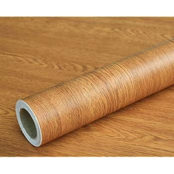 Teemall 15.6inch by 79inch Brown Wood Grain Waterproof Self Adhesive Shelf Liner Dresser Drawer Cabinet Sticker (Brown Winged Wood)