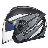 Caschi Casco Moto Demi-Jet Doppia visiera Motorino Motocicletta Helmet DOT/ECE omologato Cappello per Moto Semiaperto Protettivo Casco per Bici Scooter Moto (Color : Grey-A)