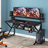 Tribesigns Gaming Desk with Storage Shelf and Monitors Shelf, 47 inches PC Computer Desk, Home Office Table Gamer Workstation with CPU Stand and Headphone Hook/CD Holder, Black