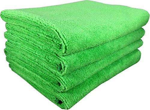 SOFTSPUN Microfiber Cleaning Cloth, Detailing & Polishing Cloth - 40X60 Cms - 4 Pcs (Green)