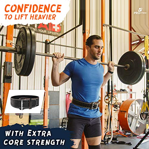 ProFitness Genuine Leather Tapered Workout Belt (4 Inches Wide) - Proper Weightlifting Form - Lower Back and Lumbar Support for CrossFit Exercises, Powerlifting Workouts (Medium, Black/White)