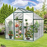 2021 Upgraded 6'x8' Greenhouse,Polycarbonate Aluminum Green House with Window for Winter,Heavy Duty Garden Plant Green House Kit for Outdoor Use