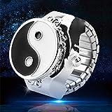 FXCO Fingerring Uhr Frauen Vorwahlknopf Quarz Analoges Fingerring Uhr Elastisches Geschenk Art Und Weisekreatives Stahluhr Geschenk