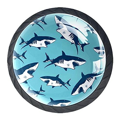 LUPIN 4 pomos para cajones de cocina para armarios de armarios con mango montado en la pared, con tiburones feroces fondo azul marino