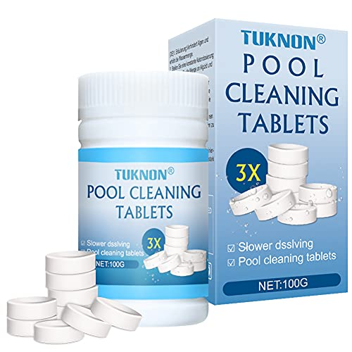 Chlorine Tablets for Swimming Pool, Pool Cleaning Tablets, Multifunction Chlorine Tablets, Magic Pool Cleaning Tablets, Instant Pool Cleaning Tablets for Swimming Pool Spa Hot Tub Bathtubs, 100 Pcs