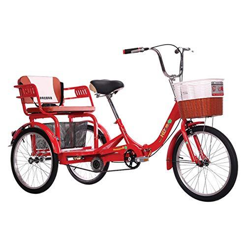 20 Zoll Faltbar Dreirad Für Erwachsene Einzelne Geschwindigkeit 3 Rad Seniorenrad Lastenfahrrad Mit Großer Korb Und Rücksitz Zum Erholung Einkaufen