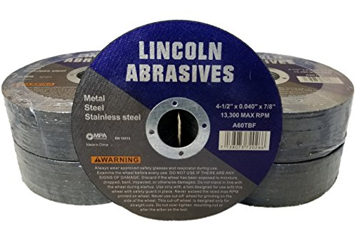 100 Pack 4.5' Cut-Off Wheels Lincoln Abrasives .040' Metal & Stainless Steel