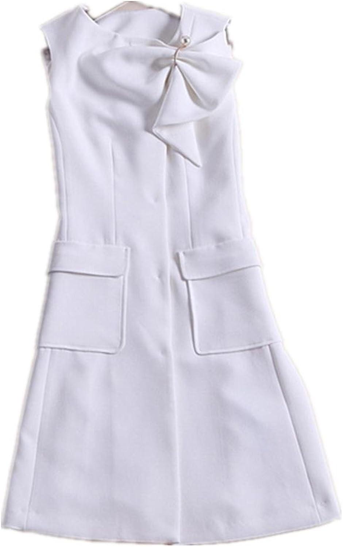 The New Solid color A Short Skirt Sleeveless Slim Dress , white , s