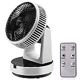 Ventilatore da Tavolo Turbo, FOCHEA Ventilatore Silenzioso 12 Velocità con Telecomando, 9H Timer, Oscillazione Orizzontale e Verticale Ventola Automatica di Circolazione dell'aria per Casa, Ufficio DC