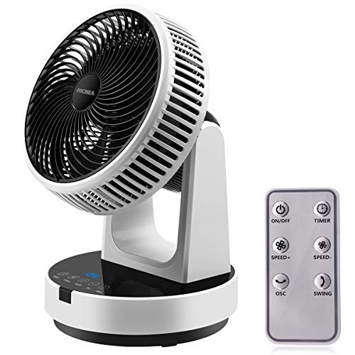 Ventilatore da Tavolo Turbo, FOCHEA Ventilatore Silenzioso 12 Velocità con Telecomando, 9H Timer, Oscillazione Orizzontale e Verticale Ventola Automatica di Circolazione dell aria per Casa, Ufficio DC