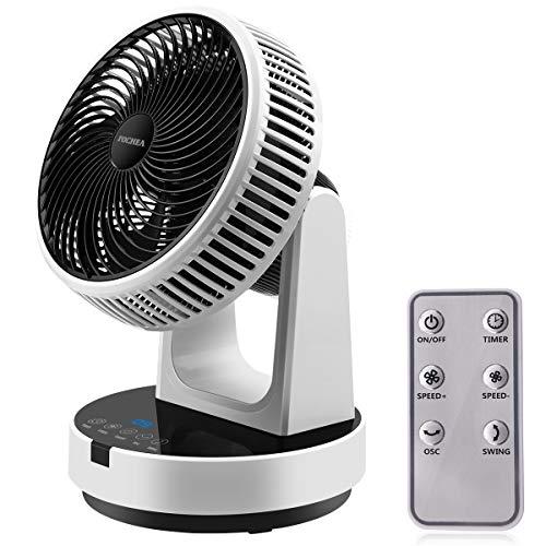 FOCHEA Ventilador de Mesa, Ventilador de Turbo, Ventilador Silencioso 12 Velocidades Oscilación Automática con Control Remoto 9H Timer Ventiladores de Sobremesa