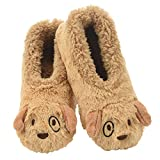 Snoozies Womens Slippers Animal Furry Foot Pals -Puppy w Matching Lining - Medium