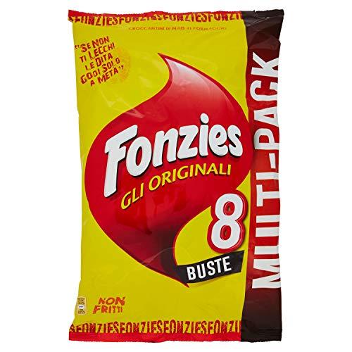 FONZIES Multipack da 8 Buste, croccantini di mais al formaggio - Confezione 188g