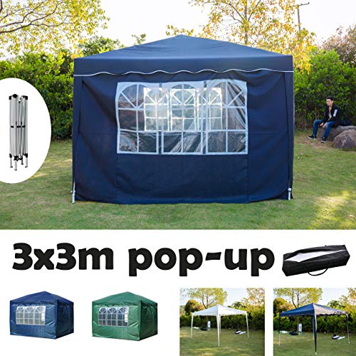 AutoBaBa 3x3M POP UP Garden Gazebo Marquee Party Tent Canopy with Carry Bag Ideal for Wedding Outdoor Camping BBQ without/with Side Panels, PVC coated, Fully Waterproof (Blue, w/Side Panels)