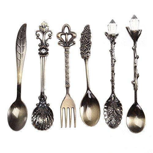 BESTOMZ Cubiertos Set Cuchara Tenedor Cuchara de Café Vintage 6 piezas (Bronce)