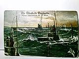 Die Blockade Englands. Unsere Unterseeboote bei der Arbeit. Alte, seltene AK farbig, gel. als Feldpost 1916. Serie 2625/4. Aufgetauchtes U - Boote, Matrosen im Aussichtsturm, Fahnen,...