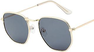 0a57c4e528 El marco de Metal hexagonal fresco océano color lente gafas de sol de  regalo (oro