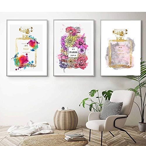 ZLARGEW Nórdico Abstracto París Flor Botella de Perfume Moda Lienzo Pintura Pared Arte Carteles e Impresiones para Sala de Estar decoración del hogar / 40x50cmx3 sin Marco